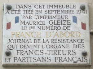 Plaque Maurice Gleize, 17 rue des Cloÿs, Paris 18